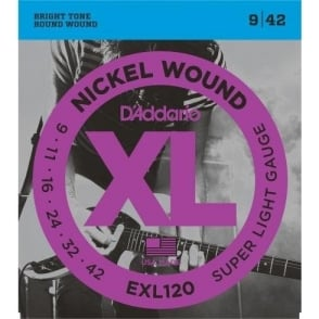 D'Addario  EXL120 Nickel Wound Electric Guitar Strings 09-42 Super Light