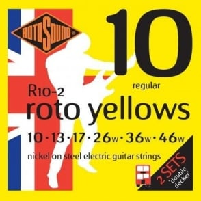 Rotosound  R10-2 Roto Yellow Nickel Electric Guitar Strings 10-46 Regular Double Decker 2-Pack