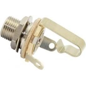 "AllParts EP-055L-000 Switchcraft Jack Socket, Mono, 1/4"", 3/8"" Threaded Bushing, Nickel"