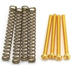 AllParts GS-0012-002 Pickup Mounting Screws & Springs for Humbucker, US Thread, Gold 4-Pack