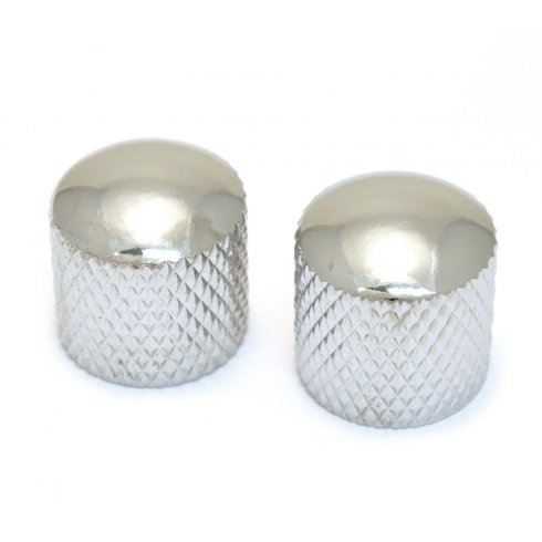 Allparts MK-3300-010 Dome Knobs, Knurled to fit Split Shaft pots, Chrome, 2-Pack