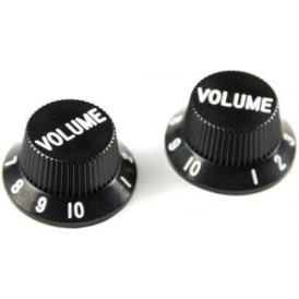 AllParts PK-0154-023 Volume Knobs, Stratocaster, Black, 2-Pack