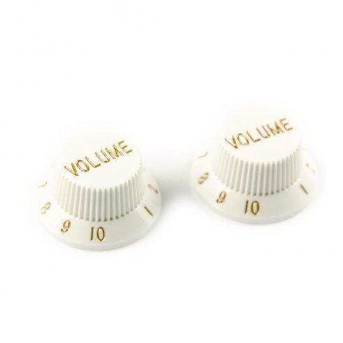 AllParts PK-0154-025 Volume Knobs, Stratocaster, White, 2-Pack