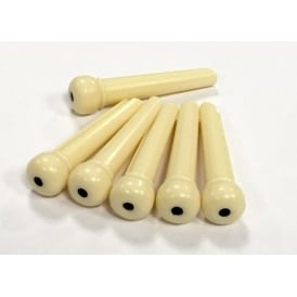 Allparts USA 6-Pack of Plastic Acoustic Guitar Bridge Pins - Cream with Black Dot