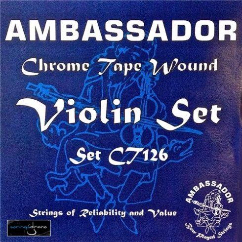 Ambassador CT126 Chrome Tape Wound Violin Strings 4/4