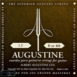 Augustine Classic Black Series Wound Nylon Low Tension Classical Guitar Single String .0285 D-4