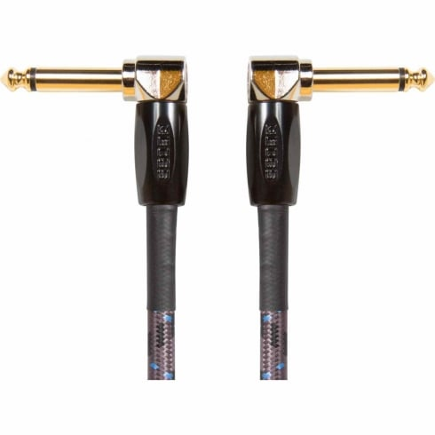 """Boss 6"""" Angled to Angled 1/4"""" Patch Cable 3-Pack for Connecting Guitar Effects Pedals"""