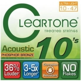 Cleartone 10-47 Phosphor Bronze Acoustic Guitar Strings 7410
