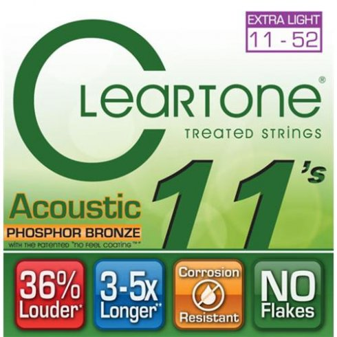 Cleartone 11-52 Phosphor Bronze Acoustic Guitar Strings (7411)