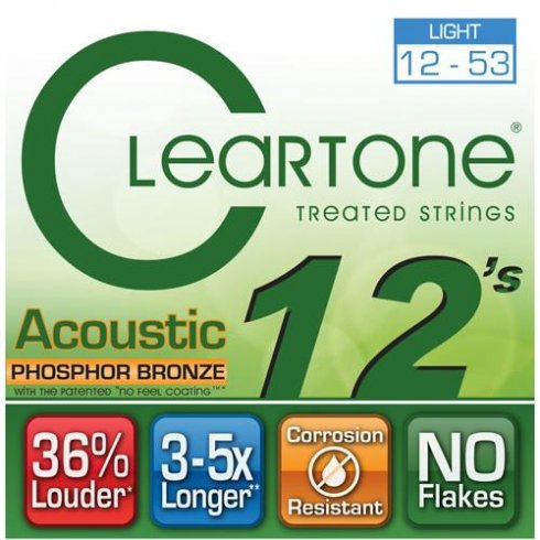 Cleartone 12-53 Phosphor Bronze Acoustic Guitar Strings (7412)