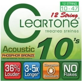 Cleartone 12-String 10-47 Phosphor Bronze Acoustic Guitar Strings (7410-12)