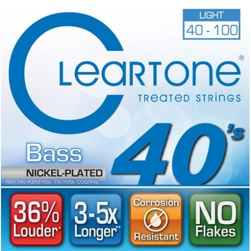 Cleartone 4-String Nickel Plated Steel 40-100 Long Scale Bass Guitar Strings (6440)