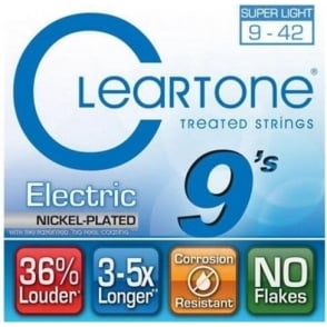 Cleartone 9409 Coated Nickel Wound Electric Guitar Strings 09-42 Ultra Light