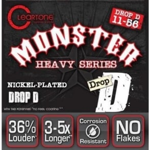 Cleartone 9456 Monster Heavy Series Drop D 11-56 NPS Electric Guitar Strings
