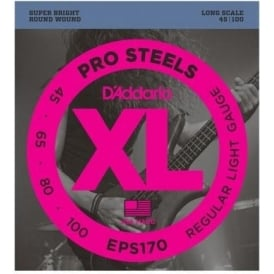 D'Addario 4-String EPS170 ProSteel 45-100 Long Scale Bass Guitar Strings