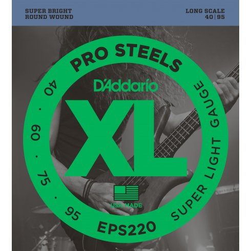 D'Addario 4-String EPS220 ProSteel Stainless 40-95 Long Scale Bass Strings Super Light