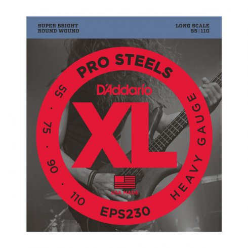 D'Addario 4-String EPS230 ProSteel Stainless Steel 55-110 Long Scale Heavy Bass Strings