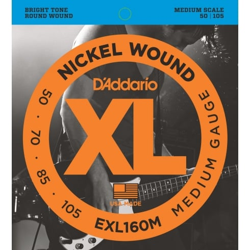 D'Addario 4-String EXL160M Nickel Wound 50-105 Medium Scale Bass Guitar Strings