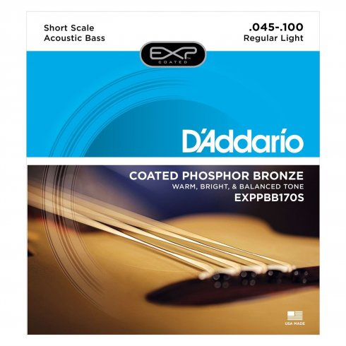 D'Addario 4-String Extended Play EXPPBB170S Acoustic Short Scale Bass Strings 45-100