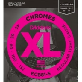 D'Addario 5-String ECB81-5 Stainless Steel Flatwound Chromes 45-132 Long Scale Bass Guitar Strings