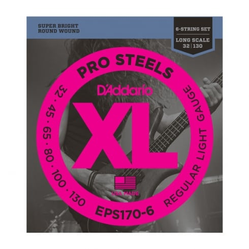 D'Addario 6-String ProSteel Stainless Steel 30-130 Gauge Long Scale Bass Strings EPS170-6