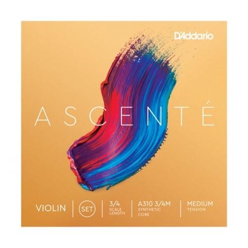 D'Addario Ascente Violin Strings 3/4 Scale Medium Tension