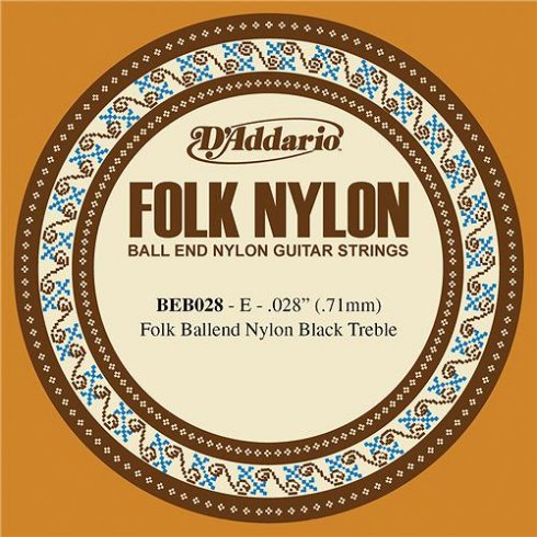 D'Addario BEB028 Black Nylon Ball End Folk Guitar Single String .028 1-E