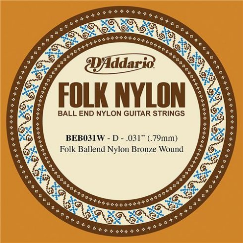 D'Addario BEB031w 80/20 Bronze Ball End Folk Guitar Single String .031 4-D