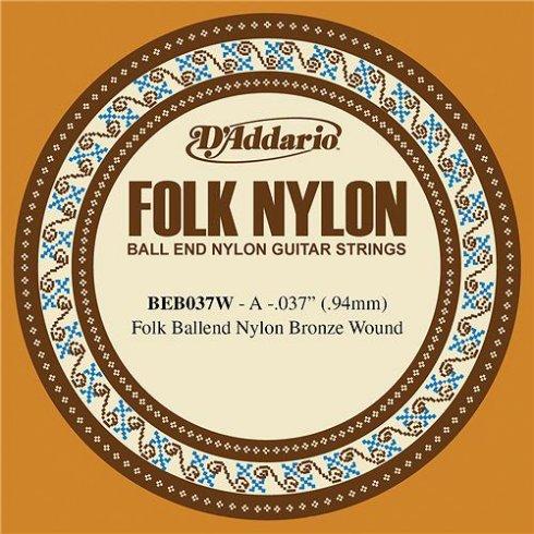 D'Addario BEB037w 80/20 Bronze Ball End Folk Guitar Single String .037 5-A