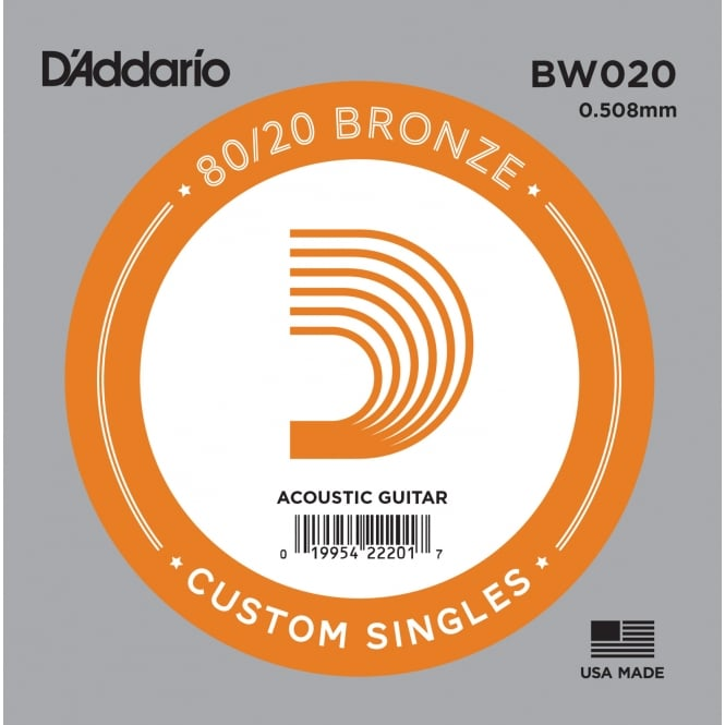 D'Addario BW020 80/20 Bronze Wound Acoustic Guitar Single String .020 Gauge