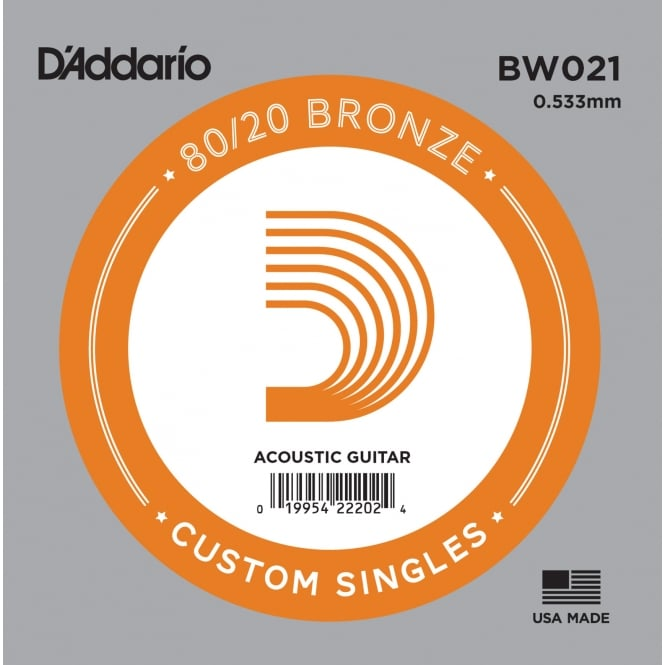 D'Addario BW021 80/20 Bronze Wound Acoustic Guitar Single String .021