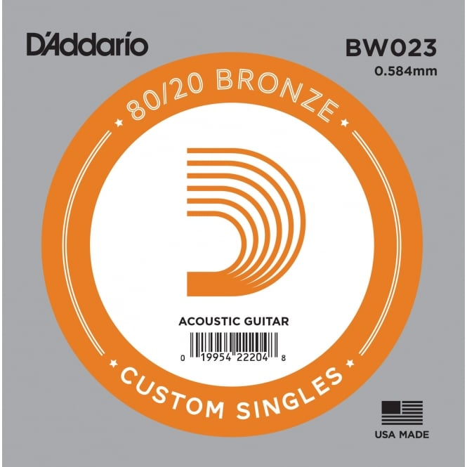D'Addario BW023 80/20 Bronze Wound Acoustic Guitar Single String .023
