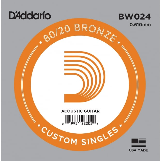 D'Addario BW024 80/20 Bronze Wound Acoustic Guitar Single String .024
