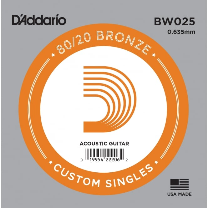 D'Addario BW025 80/20 Bronze Wound Acoustic Guitar Single String .025