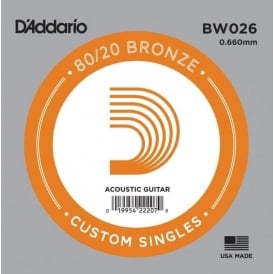 D'Addario BW026 80/20 Bronze Wound Acoustic Guitar Single String .026