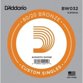 D'Addario BW032 80/20 Bronze Wound Acoustic Guitar Single String .032