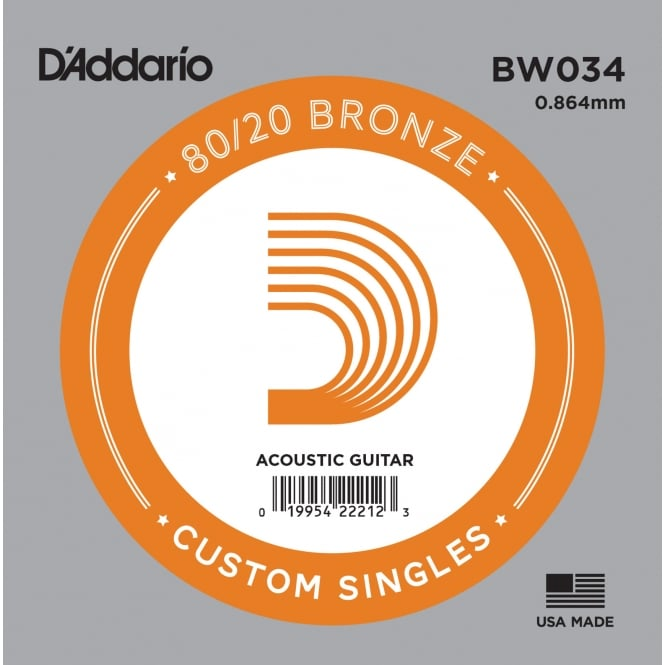 D'Addario BW034 80/20 Bronze Wound Acoustic Guitar Single String .034