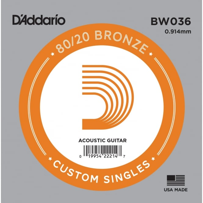 D'Addario BW036 80/20 Bronze Wound Acoustic Guitar Single String .036