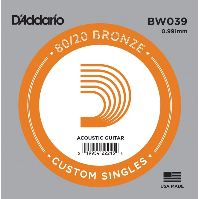 D'Addario BW039 80/20 Bronze Wound Acoustic Guitar Single String .039
