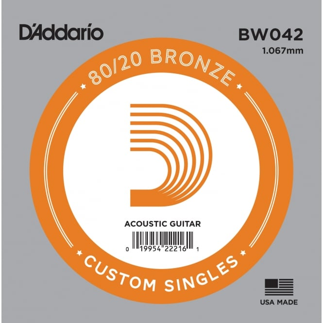 D'Addario BW042 80/20 Bronze Wound Acoustic Guitar Single String .042
