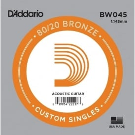 D'Addario BW045 80/20 Bronze Wound Acoustic Guitar Single String .045