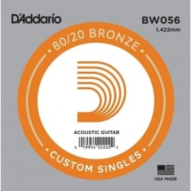 D'Addario BW056 80/20 Bronze Wound Acoustic Guitar Single String .056