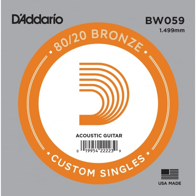 D'Addario BW059 80/20 Bronze Wound Acoustic Guitar Single String .059