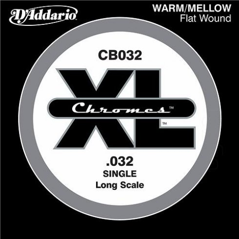 D'Addario CB032 Chromes XL Flatwound Bass Guitar Single String .032 Long Scale