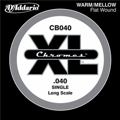 D'Addario CB040 Chromes XL Flatwound Bass Single String .040 Long Scale