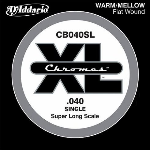 D'Addario CB040SL Chromes XL Flatwound Bass Single String .040 Super Long