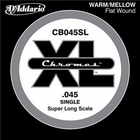 D'Addario CB045SL Chromes XL Flatwound Bass Single String .045 Super Long