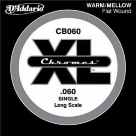 D'Addario CB060 Chromes XL Flatwound Bass Single String .060 Long Scale