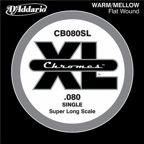 D'Addario CB080SL Chromes XL Flatwound Bass Single String .080 Super Long