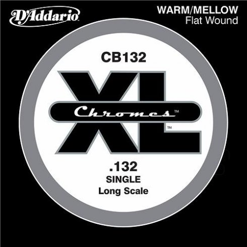 D'Addario CB132 Chromes XL Flatwound Bass Single String .132 Long Scale